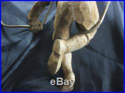 Vintage German Black Forest Hand Carved Wood Ceiling Hanging Lamp Boy Lederhosen
