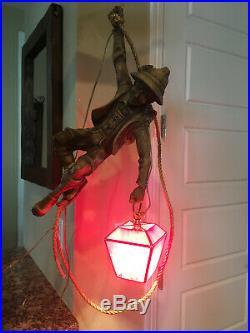 Vintage German Mountain Climber Hanging Lamp Red Slag Glass Pendant Light