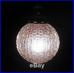 Vintage Gilbert Hanging Glass Swag Lamp Plug In Lamp Retro Mid Century