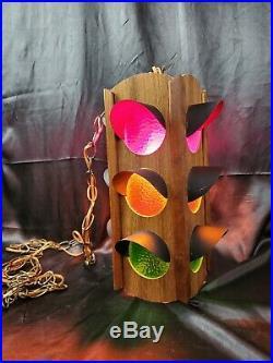 Vintage Gilbert NY Mid Century Hanging Swag Lamp wood 4 sided traffic light