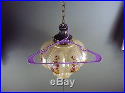 Vintage Glass Hanging Lamp Light Ceiling Chain Metal Diffuser NIB vtg