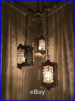 Vintage Gold Filigree Crystal Mid Century Lamp Hanging Swag Hollywood Regency