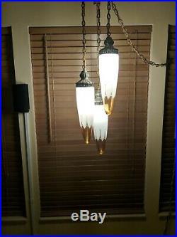 Vintage Gothic Retro Hollywood Regency Midcentury Atomic Era Hanging Swag Lamp