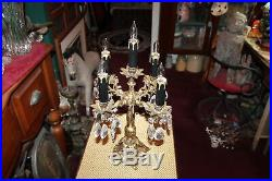 Vintage Gothic Rococo 5 Light Chandelier Table Lamp Hanging Crystals #1 Gilded