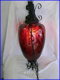 Vintage Gothic Spanish Hanging Swag Light Lamp Oxblood Red Crackled Glass