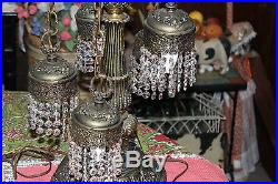 Vintage Gothic Style 6 Light Hanging Crystals Chandelier Table Lamp-Ornate Lamp