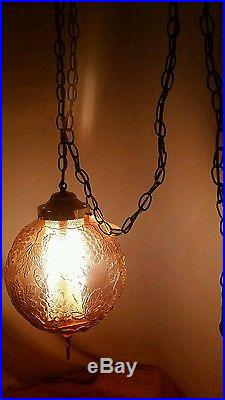 Vintage Grape Amber Glass Globe Ball With Brass Light Chandelier Hanging Swag Lamp