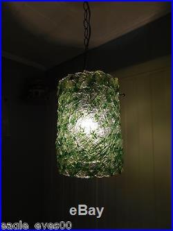 Vintage Green Chunky Fiberglass Lucite Acrylic Hanging Swag Lamp MID Century Mod