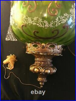 Vintage Green Glass Hanging Ceiling Swag Lamp Light Mid Century Retro
