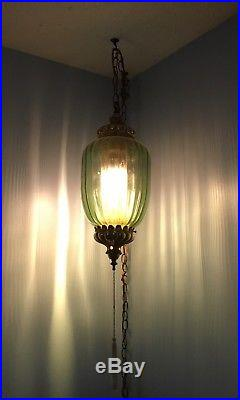 Vintage Green Glass Hanging Swag Lamp Light Mid Century withTassel-Diffuser