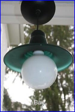 Vintage Green Glass Pendant Light Hanging Lamp Pool Table Kitchen Set of Three