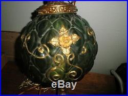 Vintage Green Glass Swag Lamp Retro Light Hanging Light