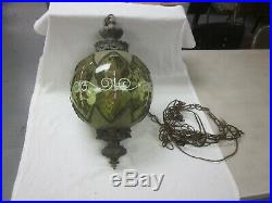 Vintage Green Glass Swag Lamp Retro Light Hanging Light BOHO Chic fixture