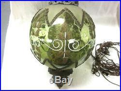 Vintage Green Glass Swag Lamp Retro Light Hanging Light BOHO Chic fixture