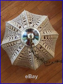 Vintage HANGING CHANDELIER Swag Lamp Light RATTAN Shade Mid Century Boho Design