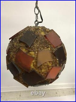 Vintage HANGING SWAG LAMP acrylic chunk mid century modern pendant light orange