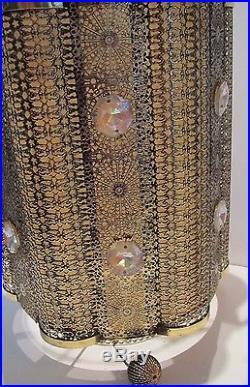 Vintage HOLLYWOOD REGENCY GOLD FILIGREE HANGING SWAG LIGHT LAMP Pendant MCM
