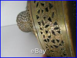 Vintage Hand Crafted Morrocan Pierced Copper Hanging Pendant Light Lamp Lantern