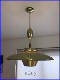 Vintage Hanging Brass Chandelier Saucer Lamp Light MID Century Atomic Age