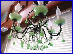 Vintage Hanging Ceiling Jadeite Chandelier Lamp