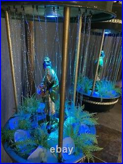 Vintage Hanging Chinese Goddess Mineral Oil Rain Lamp Light Motion Rare Big 36