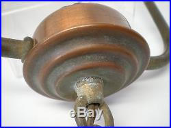 Vintage Hanging Copper Lamp with Nuart Iridescent Marigold Glass Lamp Shade Works