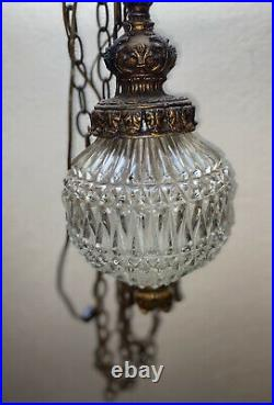 Vintage Hanging Cut Glass Swag Lamp MCM Hollywood Regency Fredrick Ramond 1963