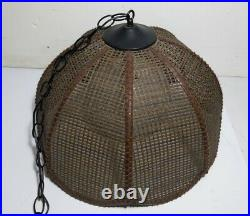 Vintage Hanging Glass Globe Swag Light/Lamp Pendant w Wicker Rattan Tulip Shade