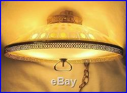 Vintage Hanging Glass Swag Saucer Lamp Light MID Century Modern Chandelier Retro