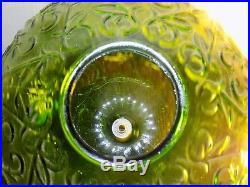 Vintage Hanging Green Glass Globe Swag Chain Ceiling Light Lamp Vtg MCM Avocado