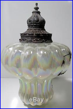 Vintage Hanging Iridescent Swag Lamp Light Fixture Brass Applied Floral