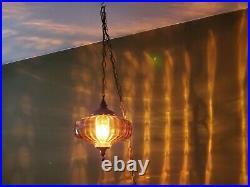 Vintage Hanging Lamp Amber Glass Optic Orange Globe UFO Swag Light MCM
