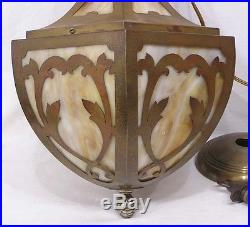 Vintage Hanging Lamp Art Nouveau Slag Glass Panels Brass 1920s-30s