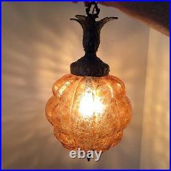 Vintage Hanging Lamp Hollywood Regency Glam Swag Retro Mid Century Glass Brass