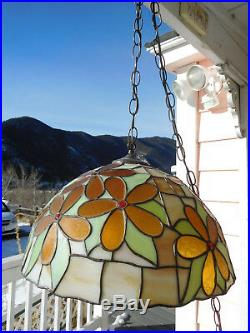 Vintage Hanging Leaded Stained Slag Glass Flower Pendant Swag Lamp Shade Light