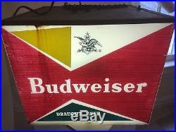 Vintage Hanging Light Bar Decor Lamp Budweiser Beer Sign Women Waterskiing Works