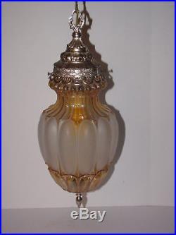 Vintage Hanging Light Lamp Swag Glass Retro