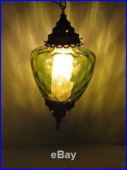 Vintage Hanging Light Lamp Swag Green Glass Retro