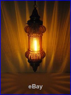 Vintage Hanging Light Lamp Swag Yellow Glass Retro
