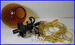 Vintage Hanging Light Swag Lamp Amber Globe Glass Prisms Ornate Retro Rewired