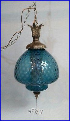 Vintage Hanging Light Swag Lamp Blue Glass quilted Globe MCM Mid Century Modern