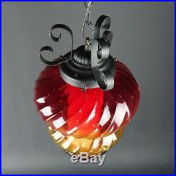 Vintage Hanging Light Swag Lamp Red & Yellow Globe Glass MCM Mid Century Modern