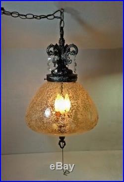 Vintage Hanging Light Swag Lamp Textured Glass Retro MCM Hollywood Regency Nice