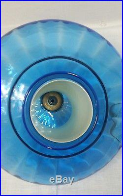 Vintage Hanging Light Swag Lamp blue Glass Globe 60s EF & EF INDUSTRIES INC