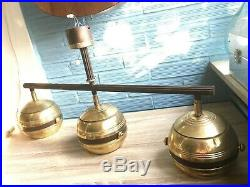 Vintage Hanging Mid Century Space Age Lamp Ceiling Atomic Design Light Set Metal