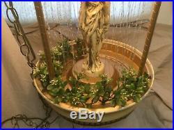 Vintage Hanging Mineral Motion Rain Oil Lamp Three (3) Greek Goddess Works