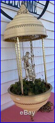 Vintage Hanging Mineral Oil Rain Lamp Swinging Couple Creators Inc 35 WORKS
