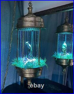Vintage Hanging Oil Rain Lamp Motion Nude Lady Goddess 1970s Brass 30