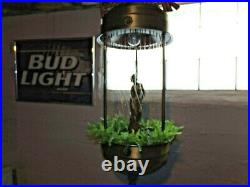Vintage Hanging Oil Rain Lamp Motion Nude Lady Goddess 1970s Brass 36 VIDEO