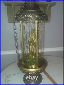 Vintage Hanging Oil Rain Lamp Motion Nude Lady Greek Goddess Retro 1970s 30, EUC